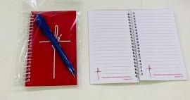 kit caderneta palavra fé ( rosa) com caneta