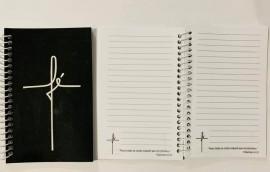 Caderneta com pauta ,palavra FÉ (preto)