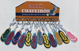 Chaveiro borracha colorida chinelo  com 12 pçs