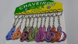 Chaveiro chapinha nota Musical,com 12 pçs