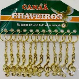 Chaveiro ferro nota musical dourada,com 12 pçs