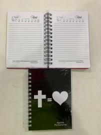Agenda  permanente  cruz = coração ( preto)