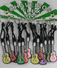 Chaveiro violão borracha,com 12 pçs