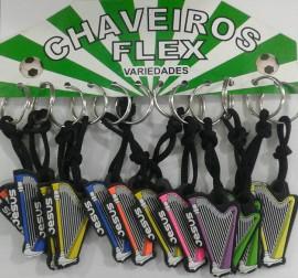 Chaveiro borracha harpa colorido ,com 12 pçs