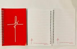 Caderneta com pauta ,palavra FÉ(rosa)