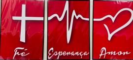 Quadro trio M .d.f. tamanho total 60 cm x 30 cm ( Fé, Esperança e Amor ) vermelho