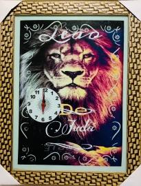 Quadro Relógio madeira com moldura e vidro individual (LEÃO de Judá)