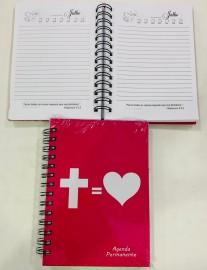 Agenda  permanente  cruz = coração ( rosa)
