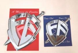 Kit adesivo  placa escudo da fé grande e médio