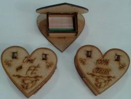 Caixa promessa madeira coração,cada
