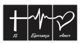 Quadro trio M .d.f. tamanho total 60 cm x 30 cm ( Fé, Esperança e Amor ) Preto