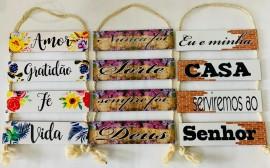 Quadro decoração corda com 4 placas de madeira ,cada