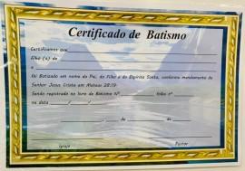 Certificado batismo c/10 pçs