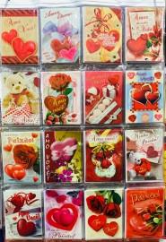 Cartão amor  pequeno com gliter,com 48 pçs
