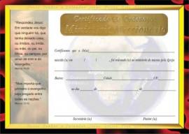 Certificado  de Ordenação ministério  Missionário,cada